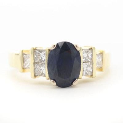 18K Yellow Gold 2.57 CT Sapphire and Diamond Ring