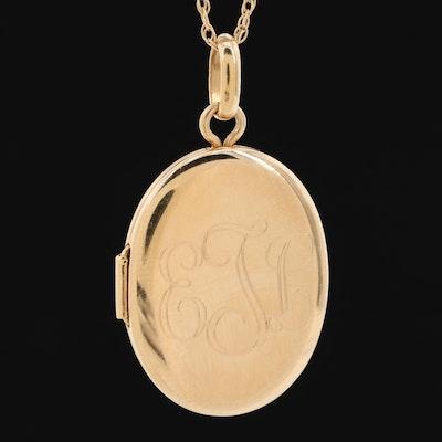 14K Yellow Gold Locket Necklace