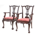 Pair of Chippendale Style Wooden Dining Chairs, Late 20th Century