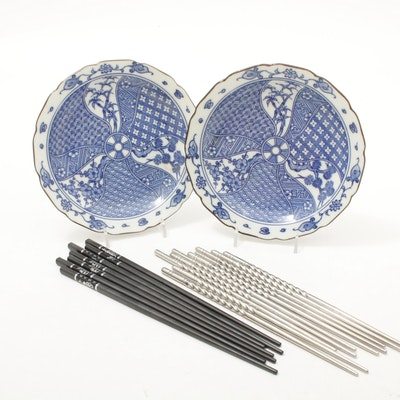 Chinese Hand-Painted Blueware Bowls with Modernist and Inlaid Chopsticks