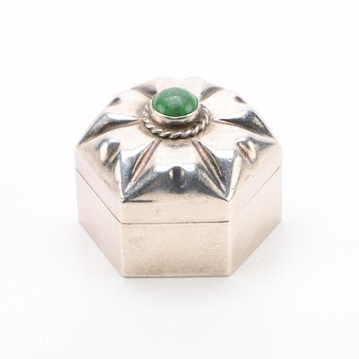 Mexican Sterling and Hardstone Pill Box, Late 20th Century
