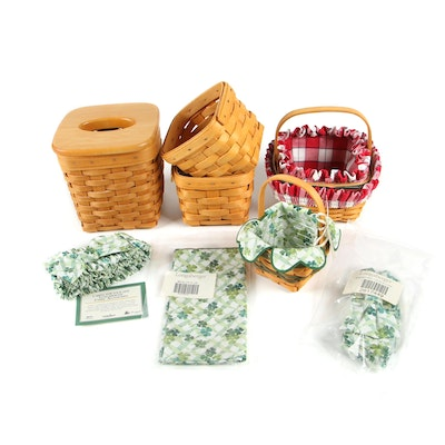 Longaberger Baskets and Tissue Holder with Additional Basket Garters