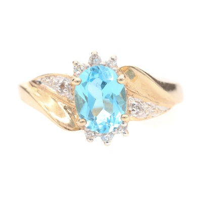 10K Yellow Gold Blue Topaz and Cubic Zirconia Ring