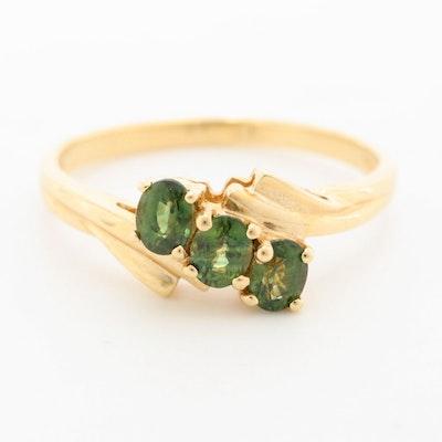 14K Yellow Gold Green Sapphire Bypass Ring
