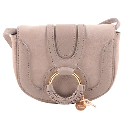 See by Chloé Hana Saddle Bag in Gray Suede and Pebbled Leather