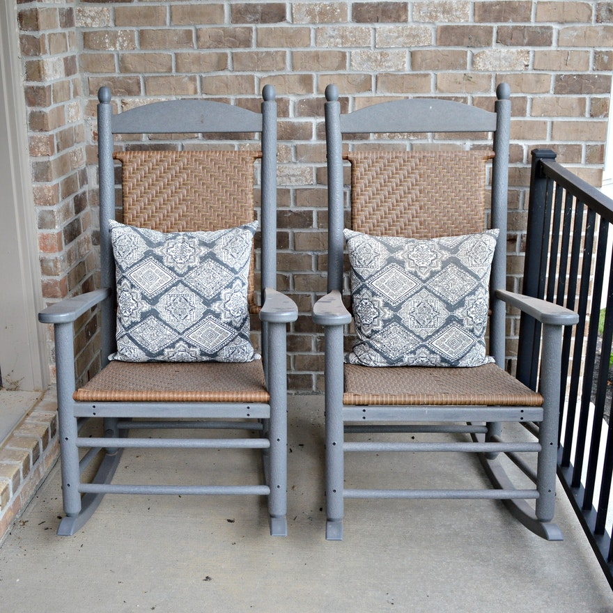 "Polywood ""Presidential Woven"" Patio Rocking Chairs, Pair"