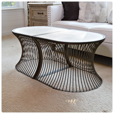 "Gabby ""Olivia"" Limestone and Metal Oval Coffee Table, Contemporary"