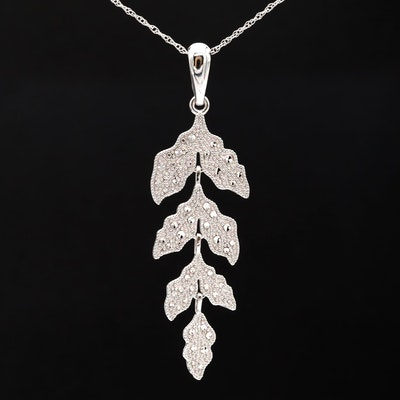 14K White Gold Textured Leaf Pendant Necklace