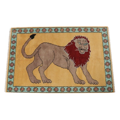 Hand-Knotted Turkish Pictorial Lion Rug