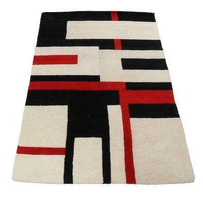 Indian Modernist-Style Tufted Area Rug