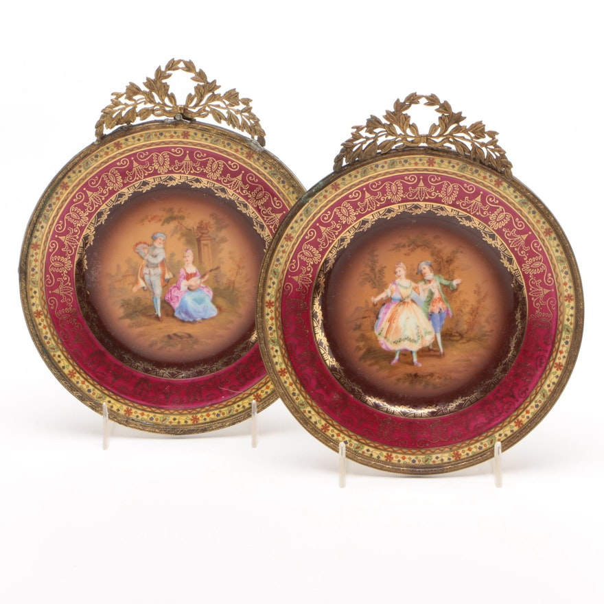 "Pair of Schmieger & Söhne ""Rembrandt"" Gilt Metal Mounted Porcelain Plates"