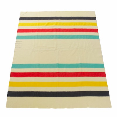 Wool Hudson's Bay Point Blanket, Mid 20th Century
