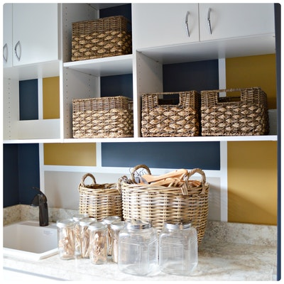 Laundry Room Organization Including Baskets, Hangers and Clothes Pins