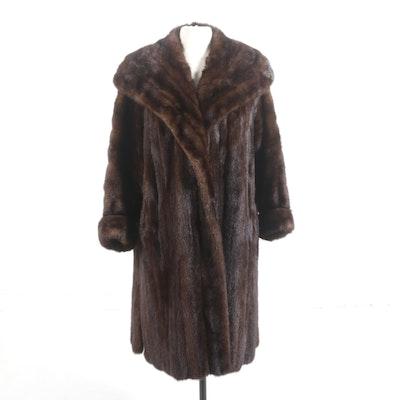 Mahogany Mink Fur Coat with Shawl Collar, Vintage