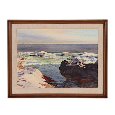 Edmond J. Fitzgerald Seascape Watercolor Painting