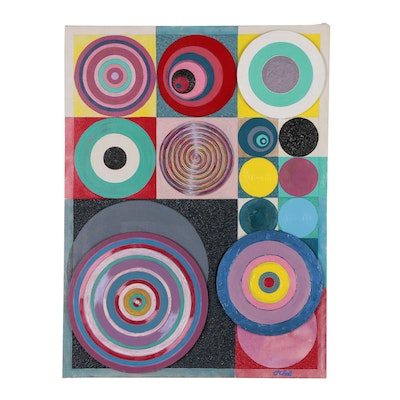 """J.C. Hall Abstract Geometric Mixed Media Painting """"Synergy"""""""