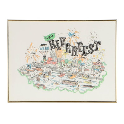 Hand-Colored Lithographic 1978 WEBN Riverfest Poster