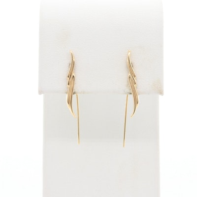 14K Yellow Gold Climber Earrings