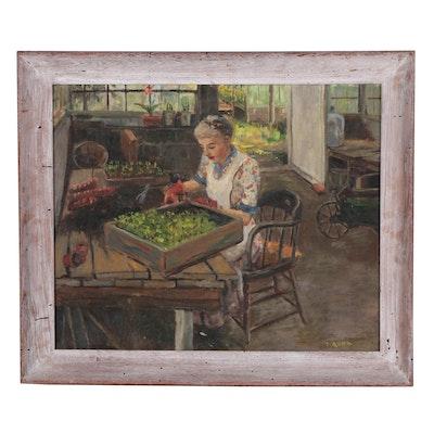 E. Budd Oil Painting of Woman Potting Plants