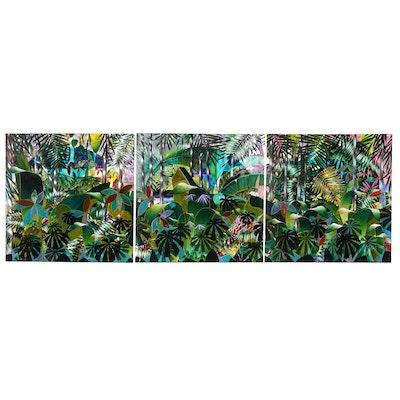 "J.C. Hall Monumental Acrylic Triptych Painting ""Do You Oahu?"""