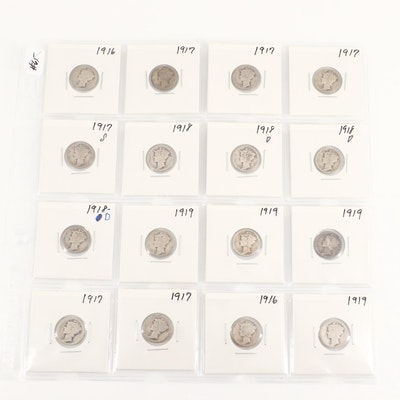 Sixteen Silver Mercury Dimes