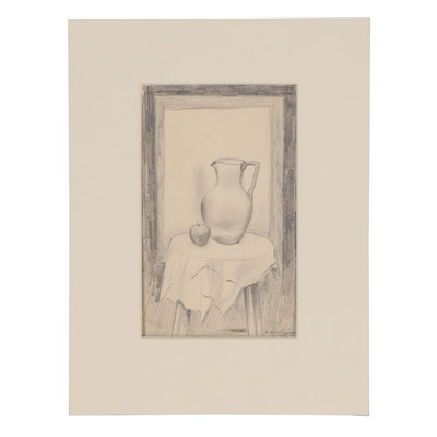 Edgar Yaeger Graphite Drawing of Still Life with Pitcher and Fruit