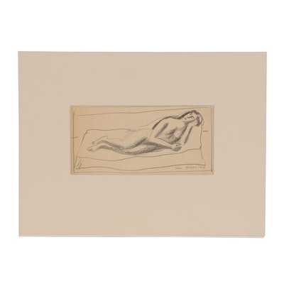 Edgar Yaeger 1934 Graphite Drawing of Reclining Female Nude