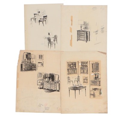 Max Walter Furniture and Interior Design Illustrations for W. & J. Sloane
