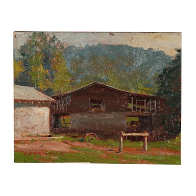 Edmond J. Fitzgerald Farm Landscape Oil Painting