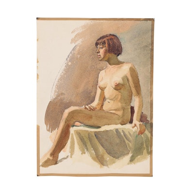 Edmond J. Fitzgerald Watercolor Figure Study