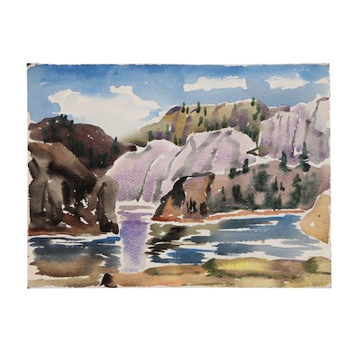 Arthur Helwig Mountain Landscape Watercolor Painting