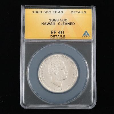 1883 ANACS Graded Hawaiian Silver Half Dollar