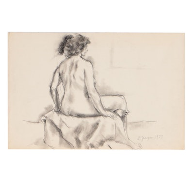 Edgar Yaeger 1973 Charcoal Figure Drawing of Seated Female Nude