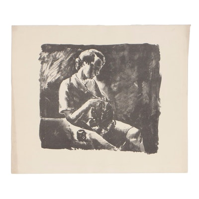 "Arthur Helwig 1936 Lithograph ""Girl Knitting"""
