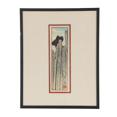 """Helen Hyde Woodblock """"Over the Garden Wall"""", 1912"""