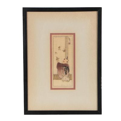 """Helen Hyde Woodblock """"Butterflies"""", 1908"""