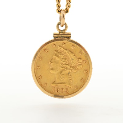 22K Yellow Gold 1895 Liberty Head Half Eagle Coin With Curb Link Chain