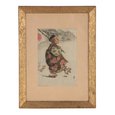 """Helen Hyde Color Etching """"Marching as to War"""", circa 1904"""