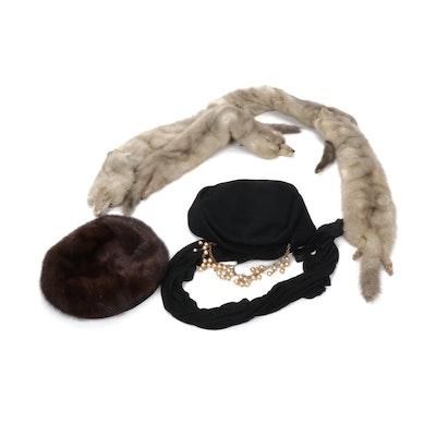 Adofo II Mink Fur Hat, Grey Mink Fur Full Pelt Stole and Ken Blair Hat, Vintage