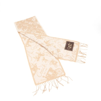 Coach Wool and Cashmere Blend Fringed Scarf