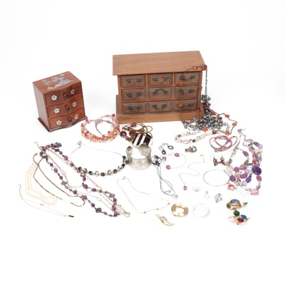 Costume Jewelry in Wooden and Inlaid Jewelry Boxes, Vintage and Contemporary