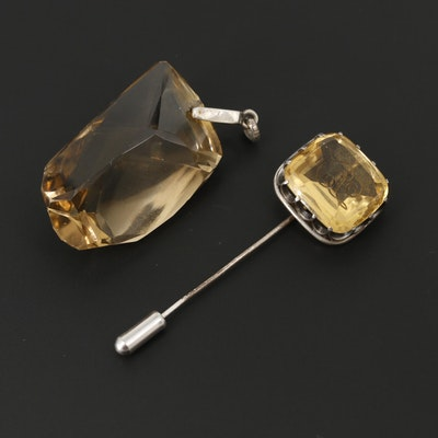 Sterling Silver and 800 Silver Citrine and Glass Jewelry Including Stick Pins