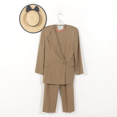 Oleg Cassini Petite Power Suit with Laura Ashley Woven Straw Hat
