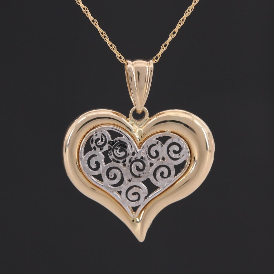 14K Yellow and White Gold Heart Pendant Necklace