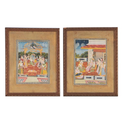 Indo-Persian Mughal Miniature Gouache Paintings, Late 18th Century