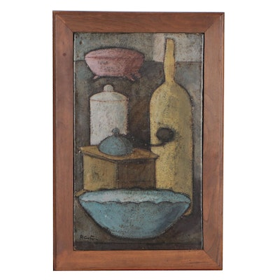 Attributed to Aldo Cestino Mid-Century Modern Stoneware Plaque of Still Life