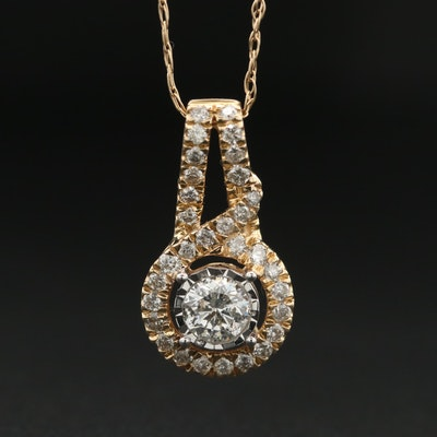 10K Yellow Gold Diamond Pendant Necklace