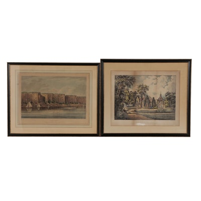"""19th Century Hand-Colored Etching and Lithograph """"Palisades"""" and """"Sunny Side"""""""