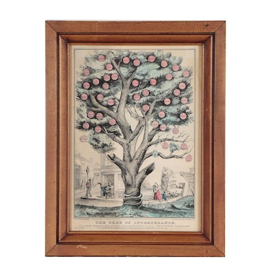"""Nathaniel Currier Hand-Colored Lithograph """"The Tree of Intemperance"""""""