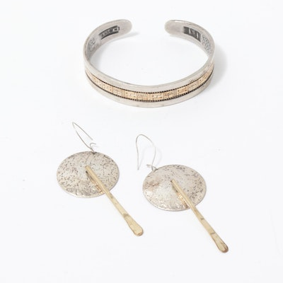 Roderick Tenorio for Carolyn Pollack Sterling Silver Cuff and Other Earrings